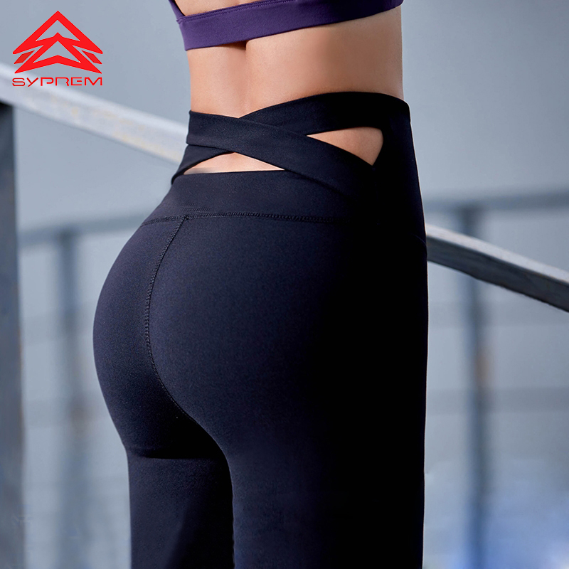 Syprem Cross Back Yoga Pants Female Elastic High Waist Leggings Winter Running Sportswear Quick-Dry Fitness Tights,WY0467