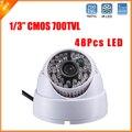 Plástico casa 1/3 '' CMOS câmera 700TVL câmera Dome 48 ri câmera com áudio HD dia / noite interior câmera de segurança CCTV