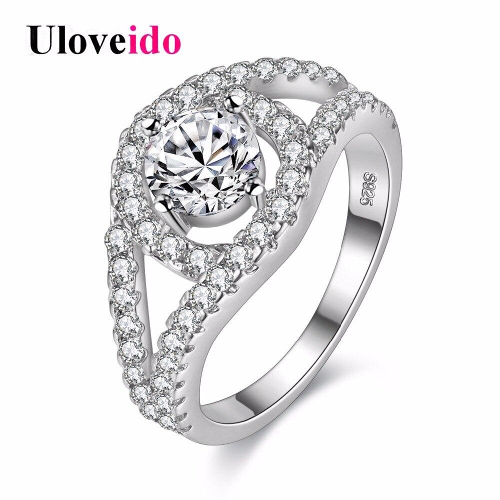 ccb3bc883715 Uloveido plata joyería vintage Anillos para las mujeres cristal accesorios  de moda femenina anillo de compromiso zirconia cúbico 2017 venta y009