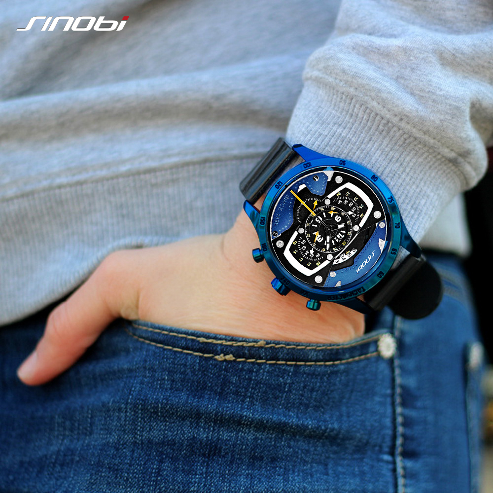 Relojes Hombre SINOBI Car Creative Men Watch Mens Fashion Speed Racing Sport Time Chronograph Silicone Watches Quartz Wristwatch