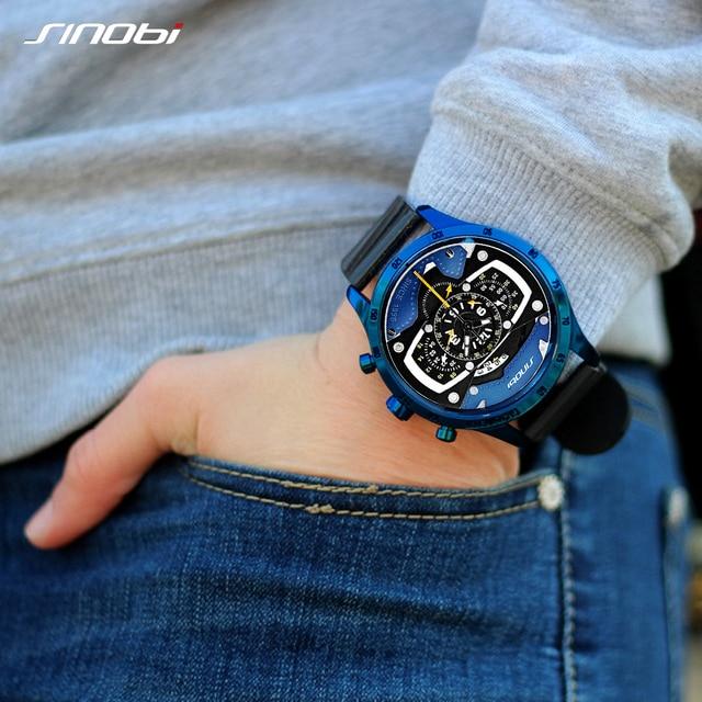 Relojes hombre sinobi車創造男性腕時計メンズファッションスピードレーシングスポーツ時間クロノグラフシリコーンの腕時計クォーツ腕時計