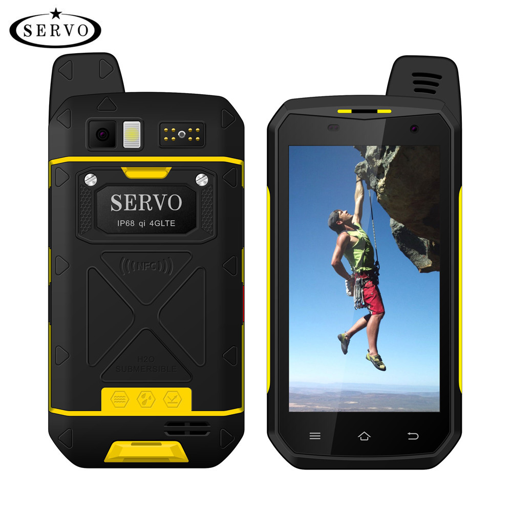 Original SERVO B6000 MTK6755 Octa Núcleo 4g 64 gb Android 6.0 os 13MP 5000 mah IP68 Suporte Do Telefone Móvel walkie Talkie sem fio 4.7