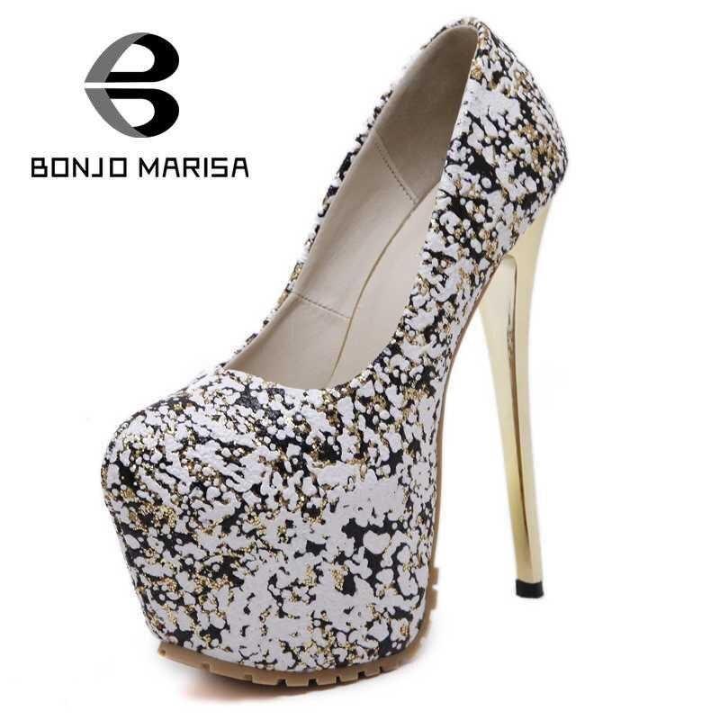 ФОТО BONJOMARISA Size 34-40 Sexy Women Shimmery Pumps Extreme High Heel Shoes Woman Party Wedding Evening Dress Platform Pumps