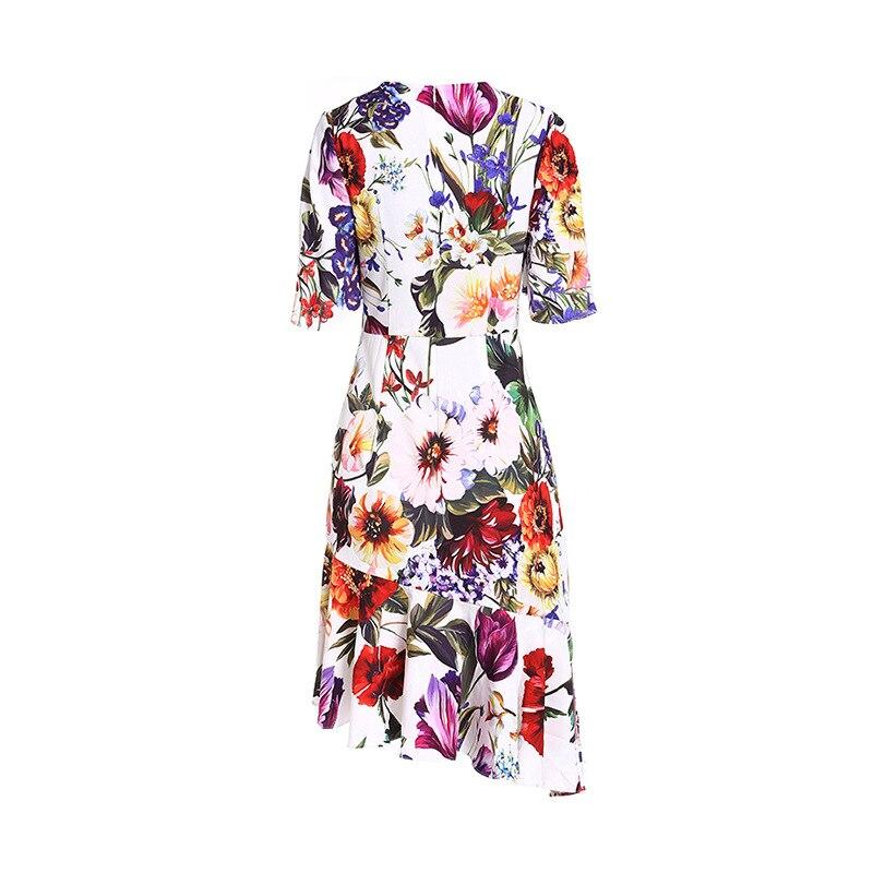 Genou De Floral Imprimé 2019 Perles Moitié O Nouveau Blanc Robe Qyfcioufu Mode Robes Piste Cou Manches D'été Irrégulière Longueur waI18q