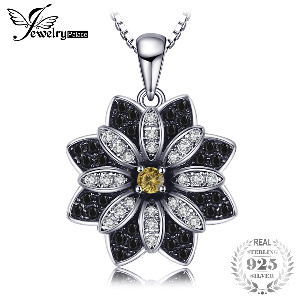 JewelryPalace Flower Natural Taupe Smoky Quartz Black Spinel Pendant 100% 925 Sterling Silver Fine Jewelry Not Include the ChainJewelryPalace Flower Natural Taupe Smoky Quartz Black Spinel Pendant 100% 925 Sterling Silver Fine Jewelry Not Include the Chain