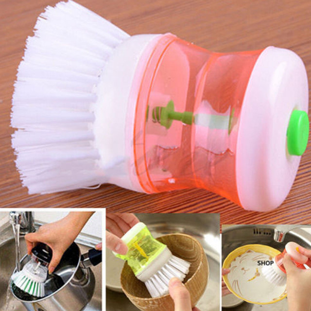 Brush Pot Scourer kitchen Cleaning Brush Hand Pot Dish Brush With Washing Up Liquid Soap Dispenser D235
