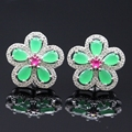 Fashion Jewelry Bohemian 19X19mm Green Zircon Flower white Gold Plated Stud Earrings For Women E08-2