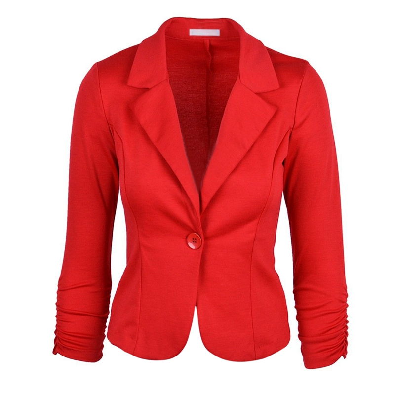 New Womens Color Blazer Jacket Suit Work Casual Basic Long Sleeve Candy Button Red Size S