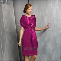 Free Shipping 2016 Hot Two Pieces Lace Mother Of The Bride Dresses With Jacket Scarf Knee