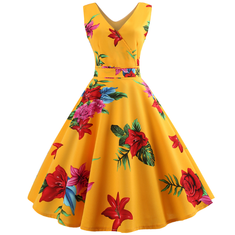2fee07466a326 Flower Floral Pineapple Vintage Dress Women Sexy Sleeveless A Line ...