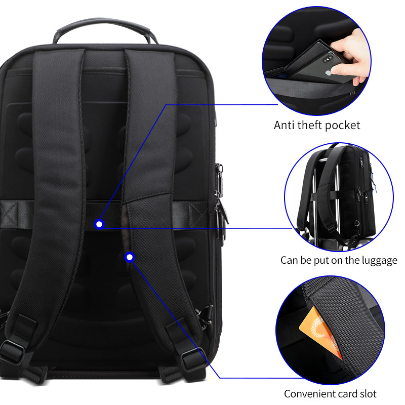 Image 3 - BOPAI 2019 Backpack Men Enlarge Anti theft Business Backpack for 15.6inch Laptop Black Back Pack School Backpack-in Backpacks from Luggage & Bags