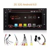 2 г 32 г Android 6.0 200*100 2 DIN dvd-плеер автомобиля ПК GPS навигации стерео для Toyota мультимедиа Экран головное устройство двойной BT SD карта