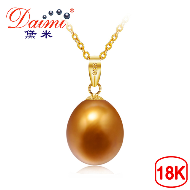 DAIMI 8.5-9mm Freshwater Pearl Brown Color Pendant Necklace 18K Yellow Gold Pend