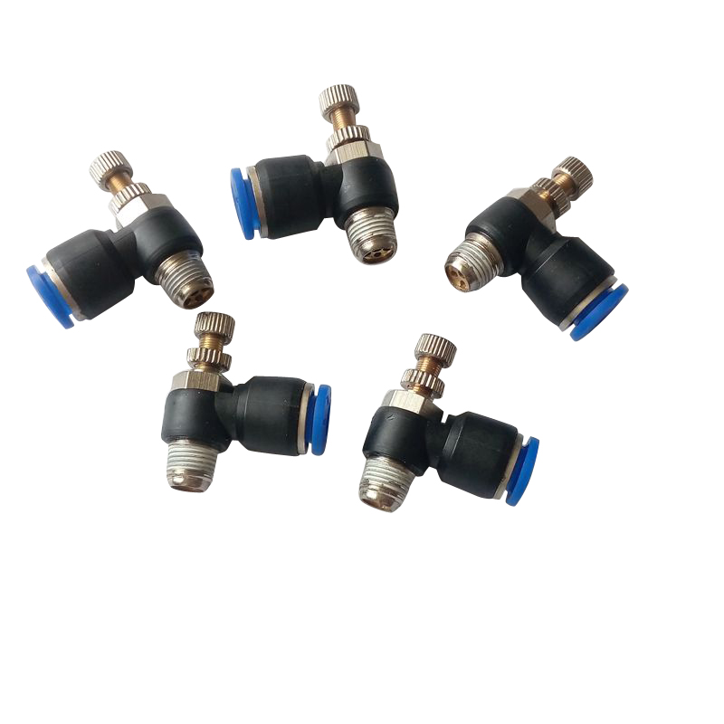5 pcs 1/8 BSP * 6mm OD Tube Elbow Pneumatic Air Flow Speed Controller Fittings Air Valve Quick Fitting SL6-1 4mm dia tube 5mm male thread pneumatic speed controller quick connector