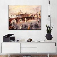 Rétro Huile Toile Peinture Port Villes en Angleterre Paysage Affiche et Imprimer Peintures pour le Salon Mur Art Home Office décor