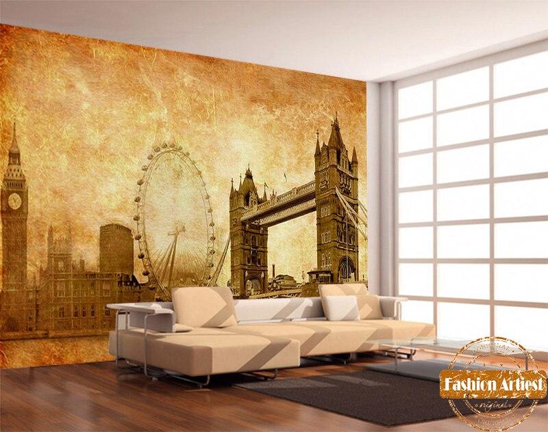 Custom old newspaper wallpaper mural UK London Bridge Big Ben clock ...