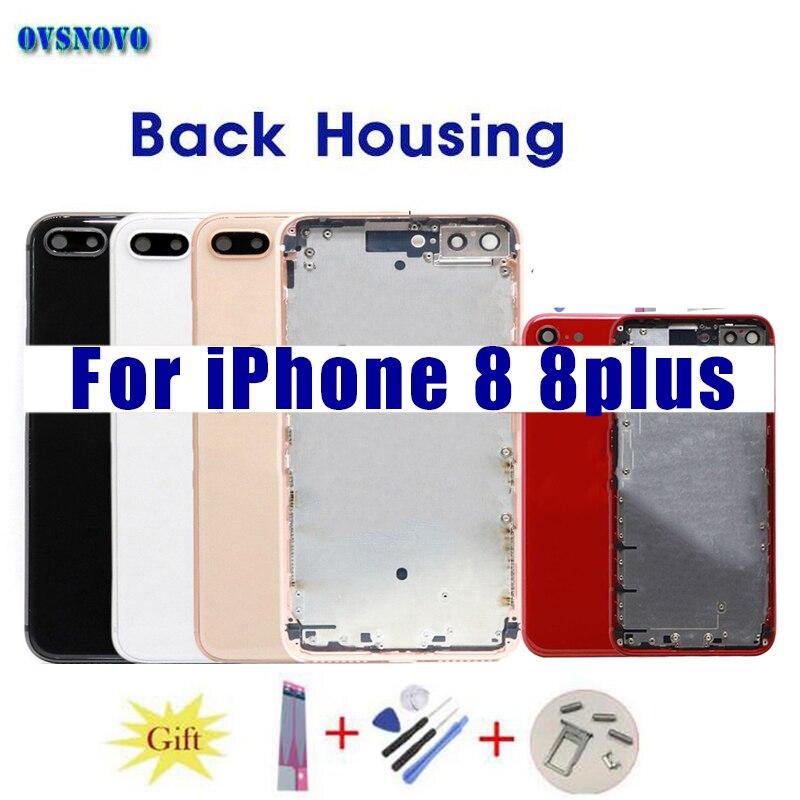 Retour verre logement Corps Pour iPhone 8 Retour Arrière Logement Couvercle de La Batterie Cas Châssis coque Traser outre Cadre pour iPhone 8 plus Rouge