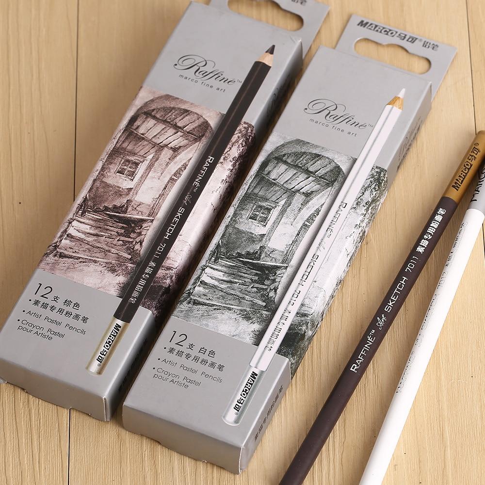 MARCO Raffine 7011 Professional Drawing Sketch Pastel Pencil 12pcs/set Sketch Charcoal Brown Pencils 7011 Art Supplies