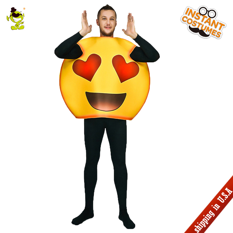 QLQ Adult Men's Heart Emoji Cosutme Cosplay Funny Two Red Heart Emoticon Fancy Dress Carnival Party Role Play Heart Emoji