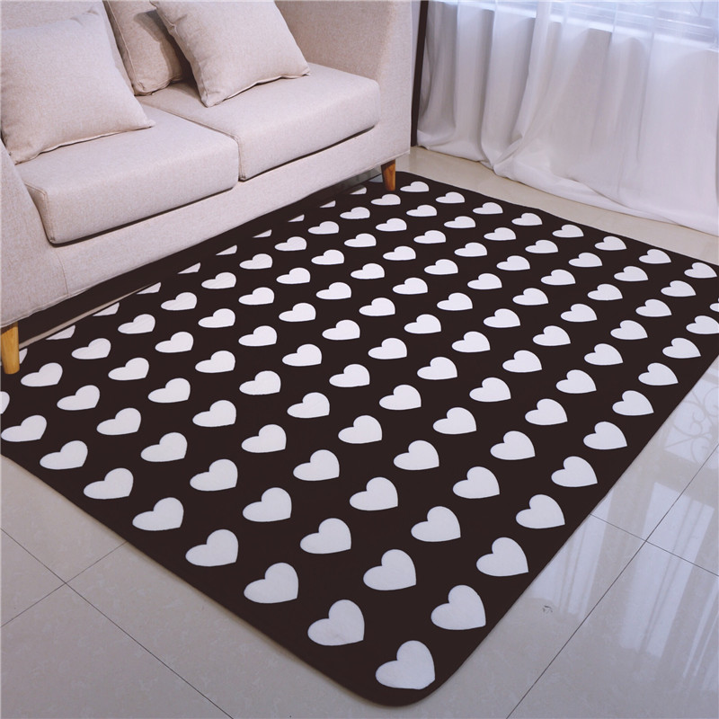 Fashion Love Hearts Black Living Room Bedroom Decorative Carpet Area Rug Bathroom Floor Door Yoga Baby Kids Crawl Play Mat Pad