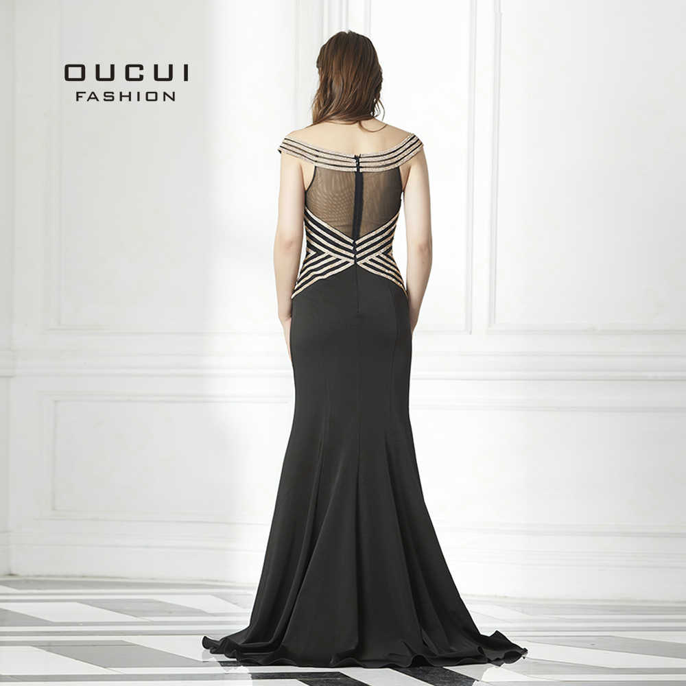 ... Торжественное платье с открытыми плечами черного цвета для выпускного  вечера для женщин Атлас новый вырез лодочкой ... 2c19fc3d407