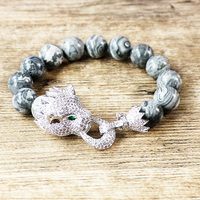 Trendy Animal Jewelry Grey Natural Stone 12mm Beads Micro Pave Zircon Copper Leopard Charm Bracelet Men Mala Bracelet & Bangle