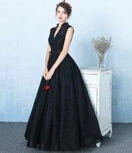Robe de soriee Elegante Schwarze Spitze Lange Ballkleider 2017 V-ausschnitt Perlen Abendkleider Importierte Party Kleider Abendkleider