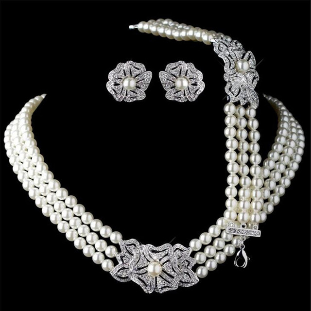 MHSSUN European Wedding jewelry set Three Rows Pearl Necklace