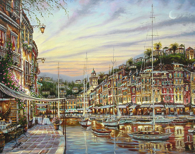 free shipping mediterranean sea house light boat seascape canvas prints oil painting printed on canvas art decoration picture