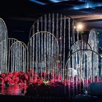 Crystal wedding arch door Luxury Wedding Centerpiece Road Leads metal frame with bead dropping wedding background decoration