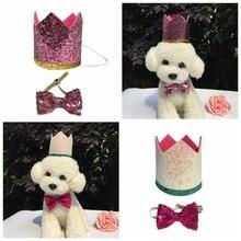 Регулируемый ПЭТ праздничный колпак Милая Корона именинника шляпа и галстук-бабочка подарок для собак