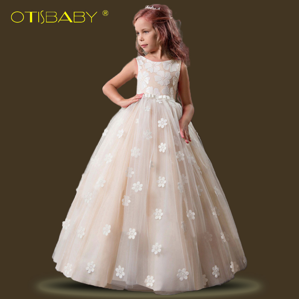 2018 Fancy Kids Dresses for Girls Elegant Princess Flower