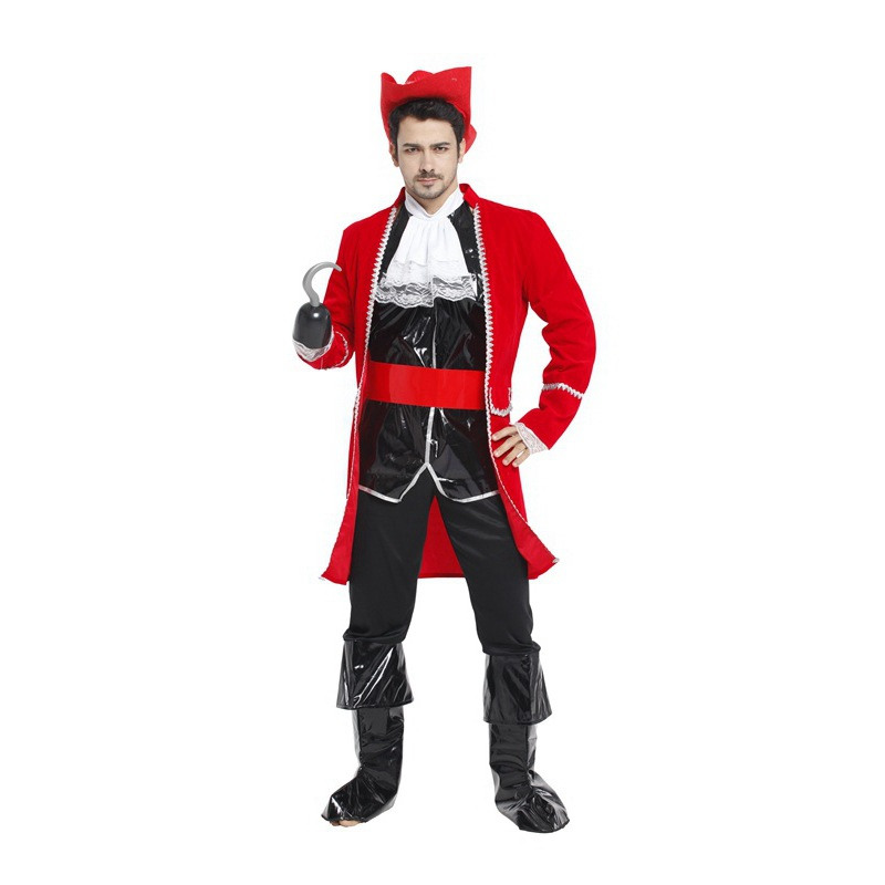 Adult Mens Captain Hook Style Pirate Costume JACKET AND HAT ONLY