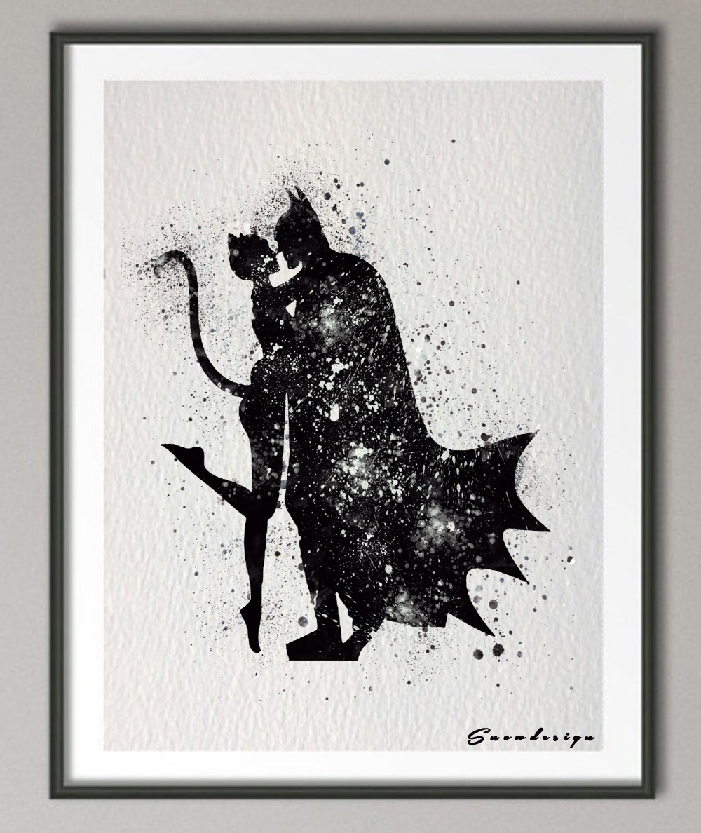Aliexpress.com : Buy Batman Catwoman watercolor canvas ...