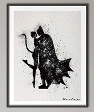 Batman and Catwoman Watercolor Canvas Poster (3 Sizes)