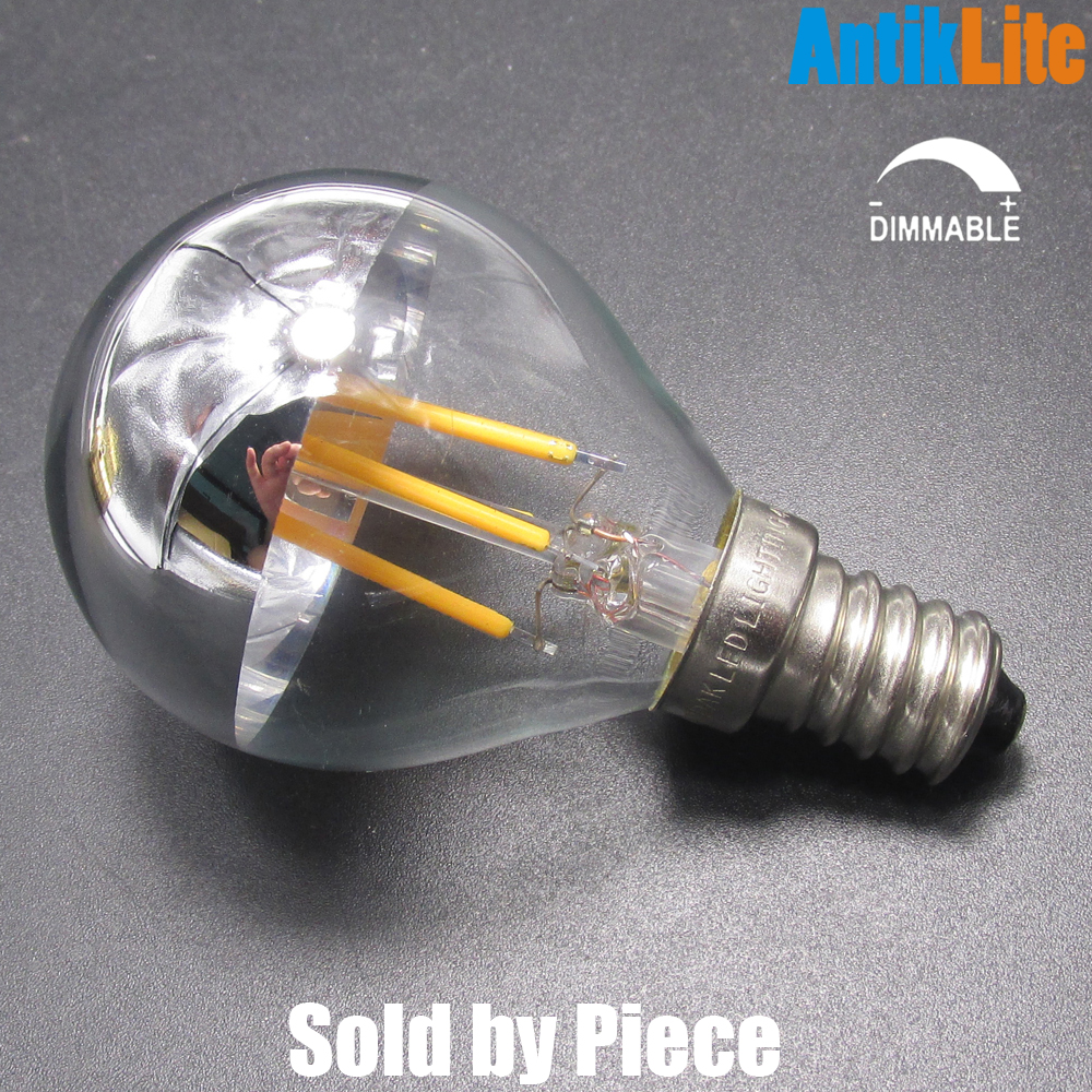 Incandescent Lamp 25W Equal E14/E27 Golf Ball G45 Half Silver/Chrome 220V Dimmable LED Filament Small Globe Edison Light Bulb 4W