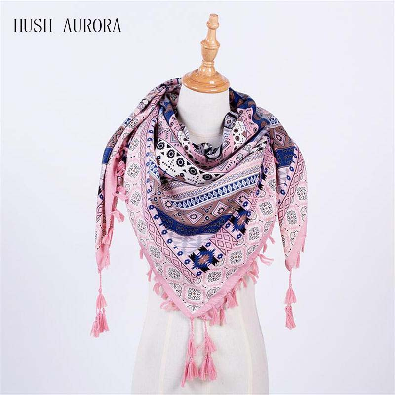 Hot Sale New Fashion Woman Scarf Square Scarves Tassel Printed Women Wraps Winter Autumn Ladies Shawls