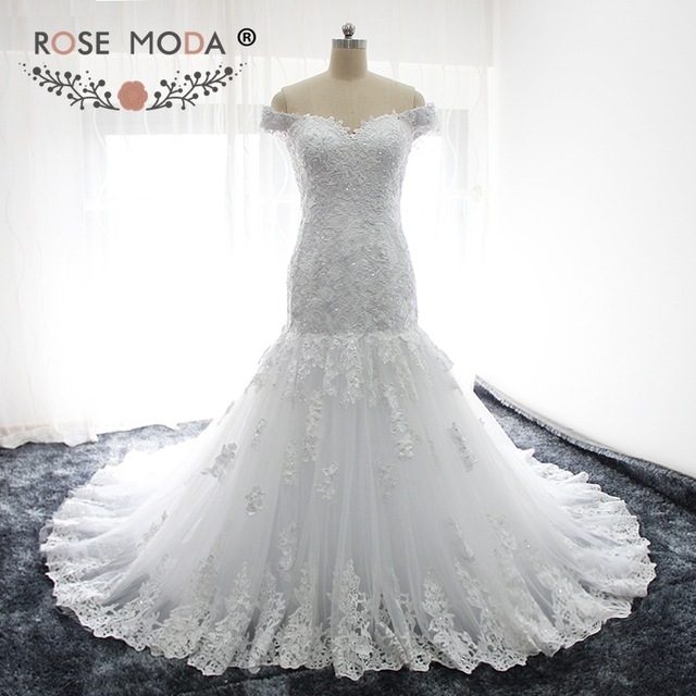 Rose Moda Off Shoulder Mermaid Wedding Dress For Black Girls Lace