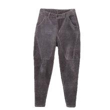 Corduroy Harem Pants Female Stripe Velvet High Waist Pants Plus Size 3XL Pantalon Femme Casual High Waist Trousers Women C4654