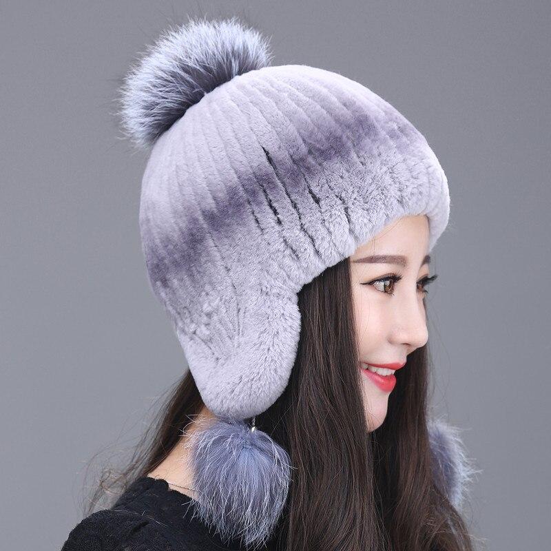 2017 Nuova Moda Cappello Di Pelliccia Invernale Femminile Pelliccia Di Volpe Palla Tessuto Di Rex Orecchio Caldo Coreano Marea Belle Signore Cappello Di Inverno