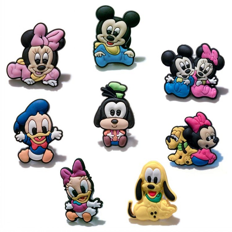 8PCS Cute Mickey Minnie PVC Shoe Charms Shoe Buckle Accessories For Croc Decoration For Bracelets With Holes Kids Party Gifts