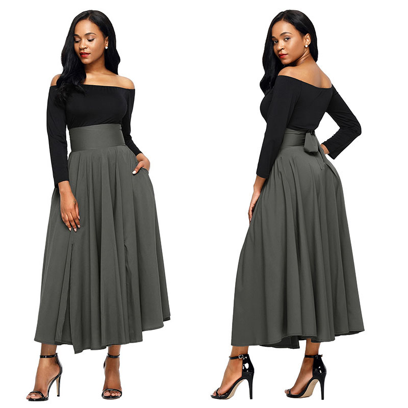 Gray-Retro-High-Waist-Pleated-Belted-Maxi-Skirt-LC65053-11-2