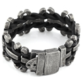 2016 New Genuine leather bracelet men stainless steel Bracelet Motorcycle Mens Chain Link Bracelet