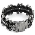 2016 New Genuine leather bracelet men stainless steel Bracelet Motorcycle Mens Chain Link Bracelet