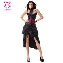 2b25c7fee8 Red And Black Halter Steel Boned Underbust Corset Dress Gothic Clothing  Corselete Feminino Espartilhos Sexy Steampunk