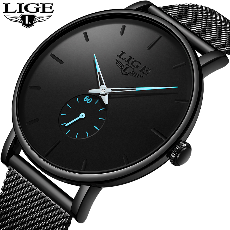 LIGE Fashion Watch Men Waterproof Slim Mesh Strap Minimalist Wrist Watches For Men Quartz Sports Watch Clock Relogio MasculinoLIGE Fashion Watch Men Waterproof Slim Mesh Strap Minimalist Wrist Watches For Men Quartz Sports Watch Clock Relogio Masculino