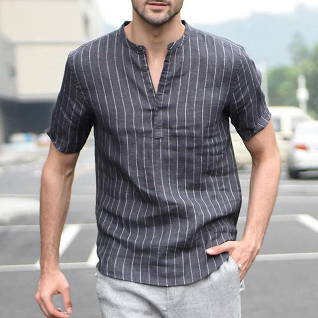 Мужская рубашка с длинным рукавом на весну и лето, мешковатые хлопковые рубашки, льняные полосатые рубашки с коротким рукавом в стиле ретро, топы, блузки # P40