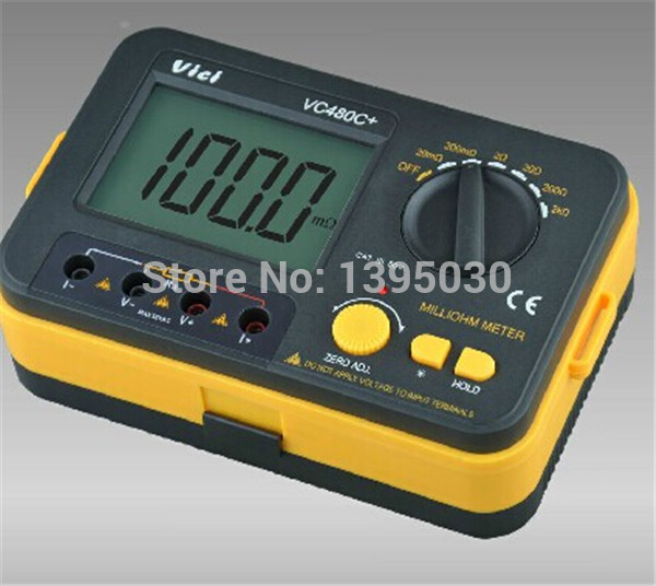 1pcs new VC480C+ 3 1/2 Digital Milli-ohm Meter multimeter 6w vici vichy vc480c 3 1 2 digital milli ohm meter resistance tester 4 wire test lcd multimeter diagnostic tool tester data hold