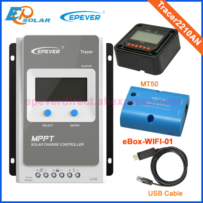 USB and MT50 MPPT EPEVER LCD 12V 24V auto work solar controller wifi BOX APP Tracer2210AN 20A Free shipping solar regulator 20a mppt tracer2210an with wifi and usb for 12v 24v auto work