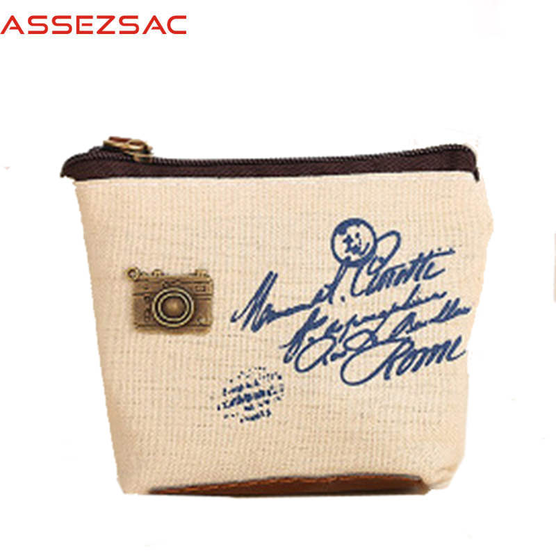 Assez sac Wallet Canvas Mini Coin Purses Square Casual Landscape Unisex Bag Hot Sale Female Purse Vintage Small Man Bag A4644/j